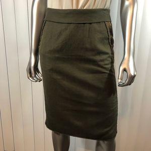Hugo Boss Hunter Green Denim Pleated Pencil Skirt